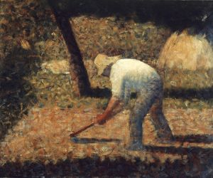 SEURAT: PEASANT, 1882. Georges Seurat: Peasant with a Hoe. Canvas, 1882.