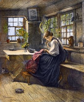 SEWING, 19th CENTURY. 'A Tranquil Hour