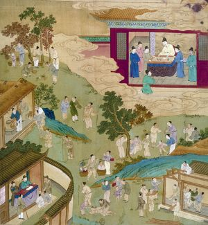 Shen Tsung, Northern Sung emperor of China (1067-1085), looking at a painting (upper