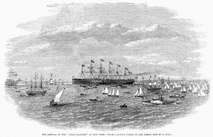 SHIP: GREAT EASTERN, 1860. The British iron steamship 'Great Eastern' at