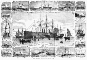 SHIPS: GREAT EASTERN, 1858. 'The Progress of Steam Navigation,' featuring