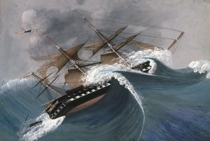 SHIPWRECK. An American sailing ship in a storm. Undated painting.