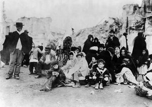 SICILY: REFUGEES, c1909. Survivors gathered together, following the earthquake in Messina