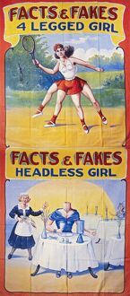 SIDESHOW POSTER, c1975. American sideshow poster featuring a four-legged woman and a headless woman