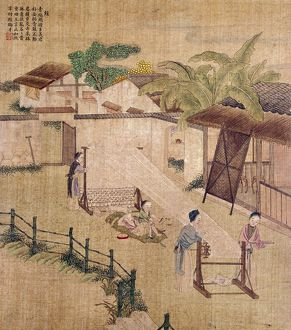 Silk weaving on a wooden loom. Chinese silk painting, c1650-1726.