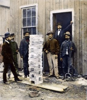 SILVER MINING, c1880. A stack of silver ingots at Leadville, Colorado, c1880