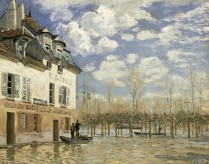 SISLEY: BOAT IN THE FLOOD. 'Boat in the Flood at Port Marly.' Oil on canvas