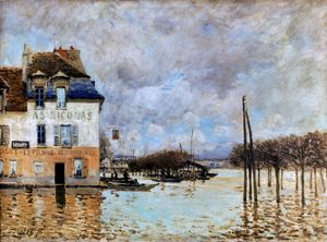 SISLEY: FLOOD, 1876. Flood at Port-Marly. Oil on canvas by Alfred Sisley.