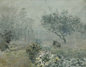 SISLEY: FOG, VOISINS, 1874. Oil on canvas, Alfred Sisley, 1874