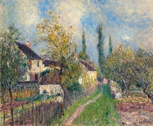 SISLEY: LES SABLONS, 1883. 'A Path at Les Sablons.' Oil on canvas, Alfred Sisley