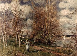 SISLEY: MEADOWS, 1882-25. Les petits pres au printemps. Canvas by Alfred Sisley.