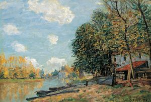 SISLEY: MORET, 1877. 'Moret - The Banks of the River Loing.' Oil on canvas