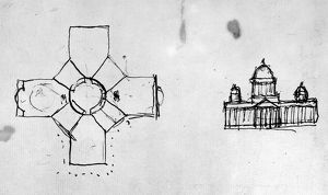 Sketches of Thomas Jefferson's proposed plan for the new Capitol building in Washington, D