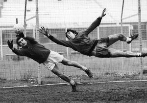 SOCCER GOALIES, 1974. English goalkeeper Peter Shilton (left) and Gordon Banks both