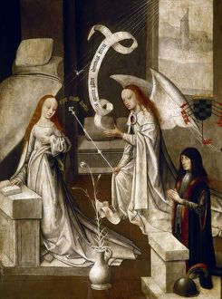 SPAIN: ANNUNCIATION, c1500. The Annunciation with the Duke of Alba. Oil on canvas