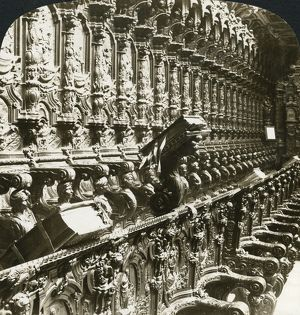 SPAIN: CORDOBA, c1908. 'Beautifully carved choir stalls, Cathedral, Cordova, Spain