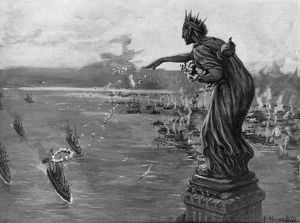 SPANISH-AMERICAN WAR, 1898. The Statue of Liberty greeting returning U