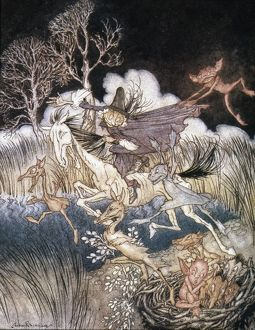 SPIRITS IN SLEEPY HOLLOW. Watercolor by Arthur Rackham for Washington Irving's