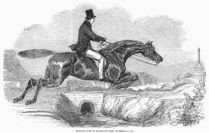 Sporting jump of twenty-six feet, at Kensal Green, England. Wood engraving, 1852