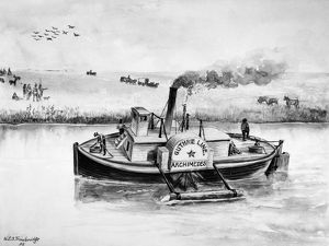 STEAM TUG BOAT, 1840s. The paddle wheel steam tugboat 'Archimedes' used in the