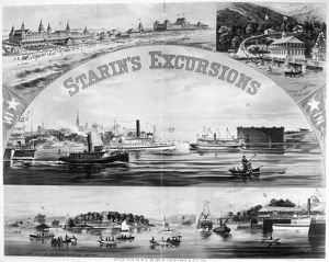 STEAMBOAT EXCURSIONS, c1878. Locations of luxury excursions around New York,