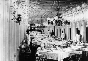 STEAMBOAT: INTERIOR, c1890. Dining room of the steamboat 'City of Monroe