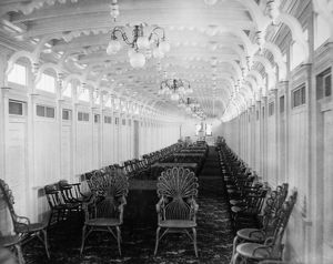STEAMBOAT INTERIOR, c1896. Interior view of the 'Bluff City,' sternwheel steamboat
