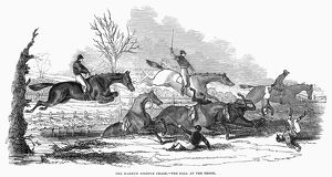 Steeplechase racing at Harrow, England. Wood engraving, 1845