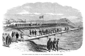 SUEZ CANAL, 1869. The Prince of Wales (later King Edward VII), letting the waters