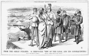 SUEZ CANAL: CARTOON, 1869. 'From the Great Pyramid