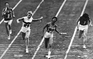 SUMMER OLYMPICS, 1960. Wilma Rudolph (second from right) wins the 400 meter relay