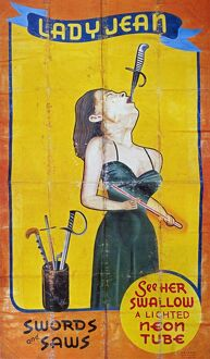 circus/sword swallower c1955 american sideshow poster