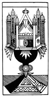 TAROT CARD: THE ACE OF CUPS. 'The Ace of Cups (Family).' Woodcut, French