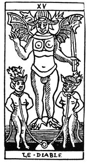 TAROT CARD: THE DEVIL. 'The Devil (Disease).' Woodcut, French, 16th century