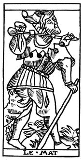 TAROT CARD: THE FOOL. 'The Fool (Atonement).' Woodcut, French, Marseille