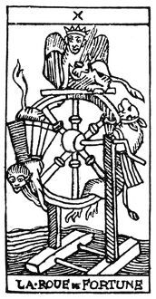 TAROT CARD: FORTUNE. 'The Wheel of Fortune (Fate).' Woodcut, French, 16th century