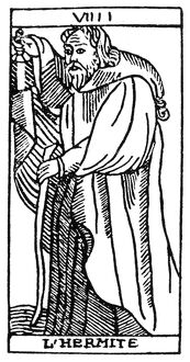 TAROT CARD: THE HERMIT. 'The Hermit (Prudence)