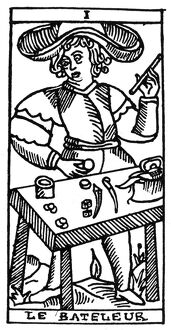TAROT CARD: THE JUGGLER. 'The Juggler (The Male Inquirer).' Woodcut, French