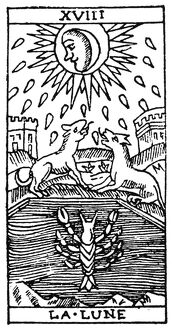TAROT CARD: THE MOON. 'The Moon (Disappointment).' Woodcut, French, 16th century