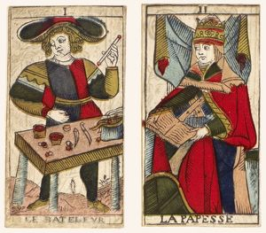 TAROT CARDS, c1700. The first two atouts of a tarot series, 18th century.