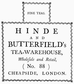 food drink/tea dealers label 1780 letterpress label used