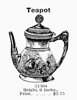 food drink/tea pot 1895 silver plated teapot american