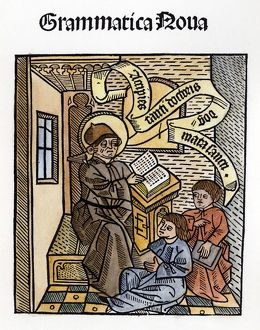 TEACHER AND STUDENTS, 1491. Woodcut titlepage to Nicolaus Perrottus' 'Grammatica