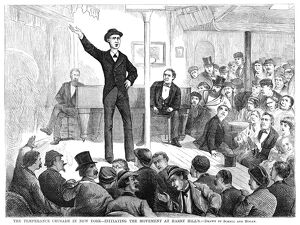 TEMPERANCE MOVEMENT, 1874. A speaker at a temperance meeting held on the stage