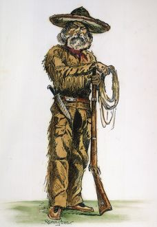 TEXAS COWBOY, 1887. An old-style Texas cowman. Drawing, 1887, by Frederic Remington