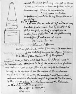 Thomas Jefferson's design for his own tombstone, with the inscription he desired.
