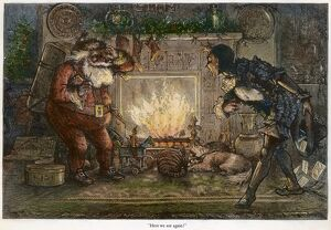 THOMAS NAST: SANTA CLAUS. 'Here We Are Again!' Engraving by Thomas Nast, 1878
