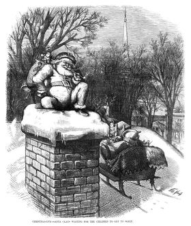 THOMAS NAST: SANTA CLAUS. 'Christmas Eve - Santa Claus Waiting for the Children