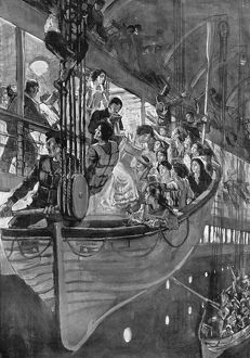 TITANIC: LIFEBOATS, 1912. Women and children being loaded into lifeboats as the
