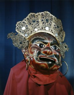 A traditional Tibetan mask, made of papier-mache.